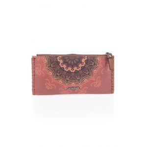 Desigual Grand portefeuille Tekila Sunrise imprimé avec patte et broche Marron