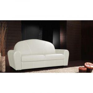 INSIDE Canapé lit CLUB DELUXE convertible système RAPIDO 140cm cuir blanc