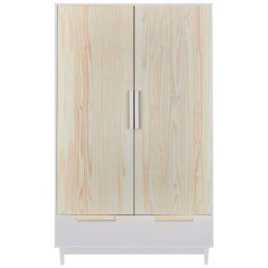 6ef8ed32104 Armoire 2 portes 2 tiroirs pin massif blanc et naturel Pipou