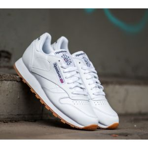Reebok Cl LTHR, Sneaker Bas du Cou Femme, Blanc (White/Gum), 41 EU