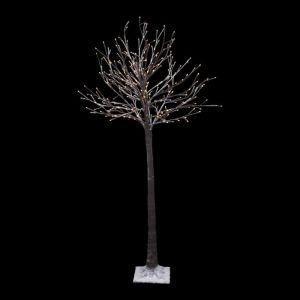 Sapin de Noël artificiel lumineux Blanc H1,5 cm Tronc épais - Arbre tronc épais et neige - 300 Led blanc chaud - H1,5 m - Blanc