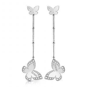 Guess Boucles d'oreilles LOVE BUTTERFLY UBE78016 - Boucles d'oreilles acier pendantes papillons Cristaux Swarovski