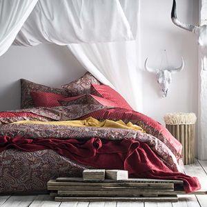 Essix Housse de couette 100% percale de coton motif paisley ethnique réversible IDOLE 260x240cm