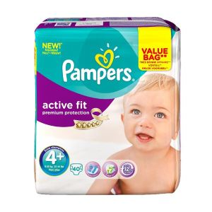 Pampers Active Fit taille 4+ Maxi+ (9-20 kg) - Value Bag x 40 couches