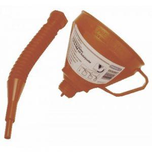 Entonnoir plastique orange 160 mm avec bec verseur pliable