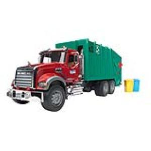 Bruder Toys Camion poubelle Mack et 2 poubelles