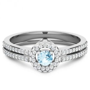 CaraShop 3663644082749 - Solitaire topaze bleue entouré de diamants en or blanc