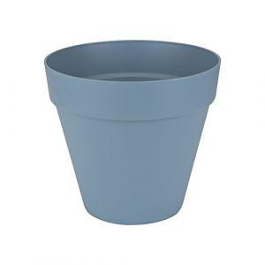 Loft URBAN Pot de fleur rond - 25 cm - Bleu vintage - Livré avec réservoir d'eau - Fabriqué en plastique - Facile à nettoyer - Résiste aux chocs