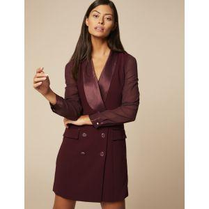 Morgan Robe Type Veste Manches Transparentes RITAWA Business Casual Dress, Lie De Vin, T36 Womens