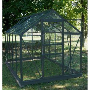 Palram Sekurit - Serre de jardin 5,77m² en aluminium et verre trempé + embase