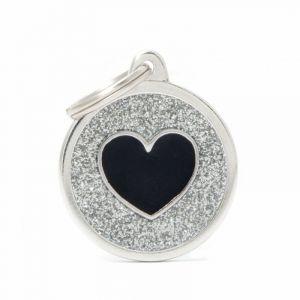 Myfamily Médaille shine grand cercle argenté cœur noir
