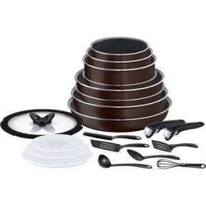 Tefal INGENIO ESSENTIAL Black Coffee pailleté - Batterie de cuisine 20 pièces