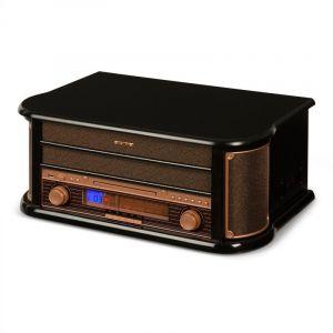 Auna Belle Epoque 1908 - Chaîne stéréo rétro platine vinyle USB CD MP3 radio K7