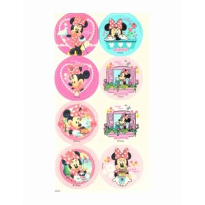 16 Mini disques en sucre Minnie 3,4 cm