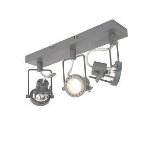 Qazqa Industriel Plafonnier spot Suplux 3 gris foncé Acier Anthracite Rond/Rectangulaire GU10 Max. 3 x 50 Watt/Luminaire/Lumiere/Éclairage/intérieur/Salon/Cuisine