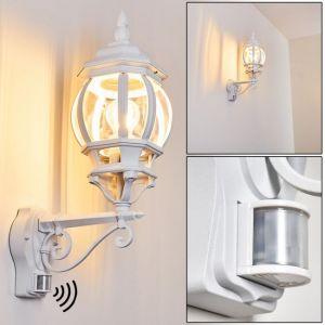 Hofstein Applique LED Lentua en métal blanc - Lampe d'extérieur moderne avec détecteur de mouvement - Applique classique pour cour - terrasse - jardin - véranda - douille E 27