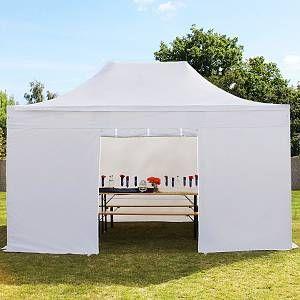 Intent24 Tente pliante / pliable PREMIUM 3x4,5 m sans fenêtre en Polyester de qualité blanc.FR