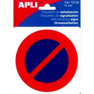 "APLI 12678 - Picto ""Stationnement interdit"" adhésif 114 x 114 mm"