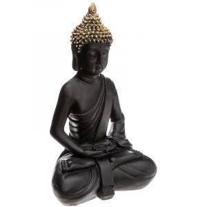 """Atmosphera Statue en Résine """"Bouddha Assis"""" 39cm Noir & Or"""