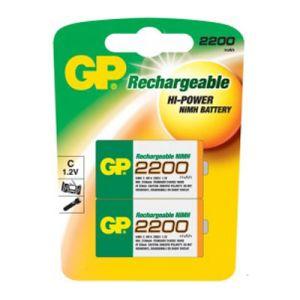 GP Blister de 2 piles rechargeables C 2200 mAh NiMH