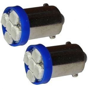 Aerzetix 2x ampoule T4W T5W BA9s 12V 5LED SMD bleu éclairage intérieur plaque d'immatriculation seuils de porte plafonnier pieds lecteur de carte coffre compartiment moteur