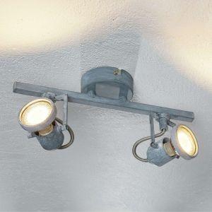 """Plafonnier Spot 2 Têtes Industriel LED """"Concreto"""" 28cm Gris"""