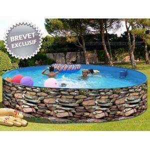 Toi Piscine 8521 - Piscine Muro ronde en acier aspect pierre 400 x 90 cm