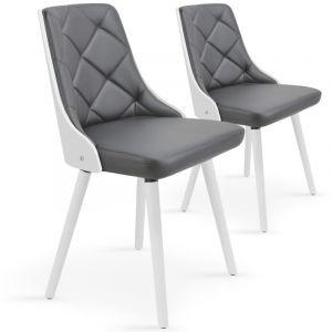 Declikdeco Lot de 2 chaises scandinave blanc et gris PERIG