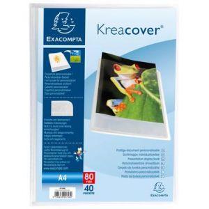 Exacompta 5748E - Protège-documents personnalisable KREACOVER Chromaline 80 vues, polypro, blanc