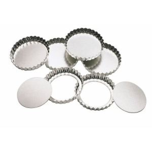 Kitchen craft 6 mini-moules à tartes / flans à base amovible (10 cm)