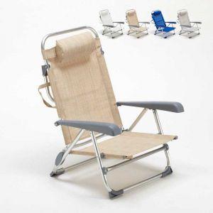 Beach and Garden Design Chaise transat de plage pliante avec accoudoirs mer aluminium GARGANO | Beige