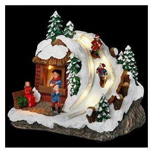 Village de Noël animé et lumineux descente skieur