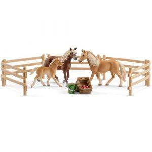 Schleich Figurines chevaux : Famille Haflinger au pré