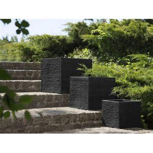 Beliani Pot de fleurs noir 40 cm Paros