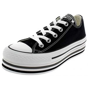Converse Chaussures casual Chuck Taylor All Star basses en toile EVA Layers Plateforme Noir - Taille 37