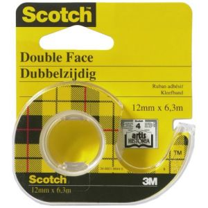 Scotch Ruban double-face avec dévidoir 12 mm x 6.3 m