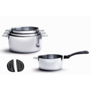 De Buyer 3491.04 - 4 casseroles Twisty en inox avec queue et 2 anses (14 / 16 / 18 / 20 cm)