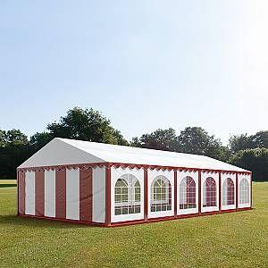 Intent24 Tente Barnum de Réception 6x12 m ignifugee PREMIUM Bâches Amovibles PVC 500 g/m² rouge-blanc Cadre de Sol Jardin .FR