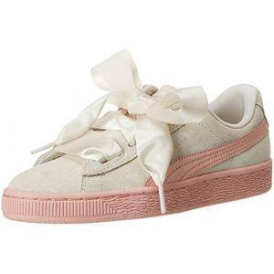Puma Suede Heart Jewel PS, Sneakers Basses Fille, Blanc (Whisper White-Peach Beige), 30 EU