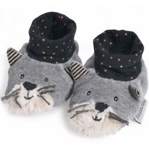 Moulin roty Chaussons chat gris clair Fernand Les Moustaches
