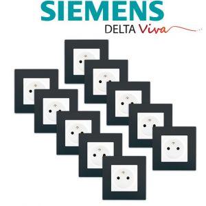 Siemens LOT 10 Prise 2P+T Blanc Delta Viva + Plaque Anthracite