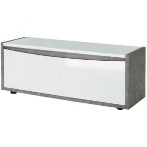 2234af05a7157e CIMENTES Meuble TV contemporain blanc laqué brillant et effet béton - L 120  cm - MDF
