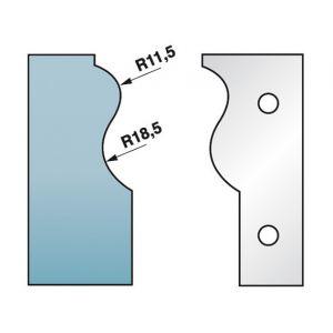 Diamwood Platinum Jeu de 2 fers profilés Ht. 90 x 5,5 mm corniche N°3 M590.303 pour porte-outils de toupie