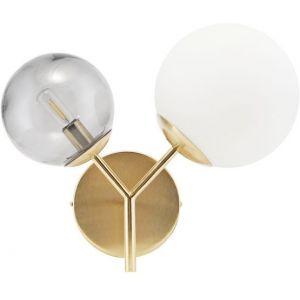 House Doctor Applique murale double globe en verre opaque blanc et fumé Twice - Doré