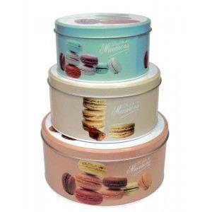 3 boîtes motif macarons n°2 en métal