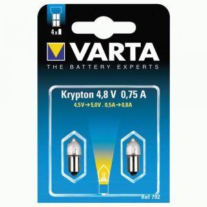 Varta Lot de 2 ampoules pour lampe de poche Krypton 792 4.8V 0.75A