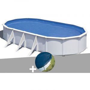 Gre Kit piscine acier blanc Wet ovale 7,44 x 3,99 x 1,22 m + Bâche hiver