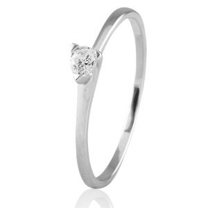 CaraShop 3663644020543 - Solitaire diamant en or blanc