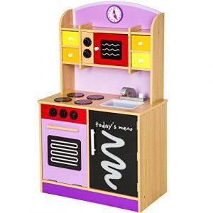 TecTake Cuisine en bois pour enfants kit pourpre