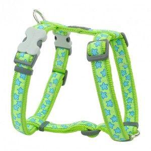 RedDingo Harnais réglable pour chien Vert Etoiles Bleu 54 à 74 cm 25 mm